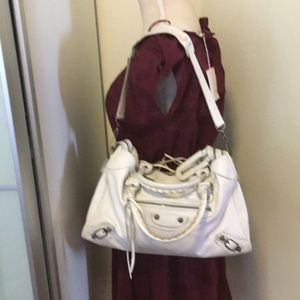 Balenciaga City off white leather bag